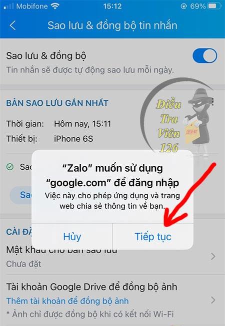 Bước 4: Chọn sao lưu tin nhắn Zalo lên Google Drive