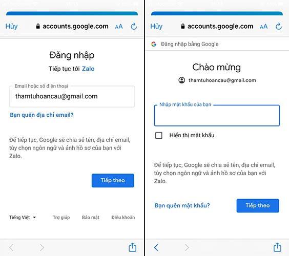 Đăng nhập Gmail để sao lưu khôi phục tin nhắn đã xáo vĩnh viễn trên Zalo