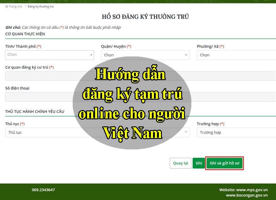 Cách đăng ký khai báo tạm trú online cho người Việt Nam TPHCM, toàn quốc